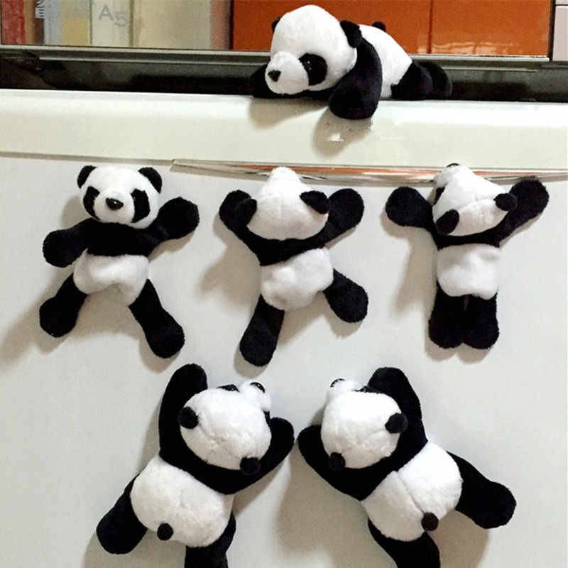1pc Lovely Soft Plush Panda Magnet Sticker Decoration Cartoons Decal Gift Easy To Clean Car Accessories New