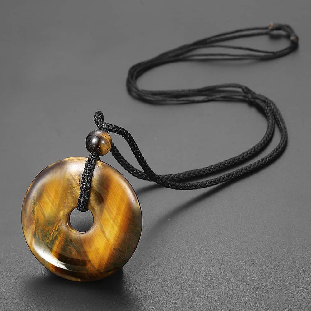 Men's Natural Stone Hollow Round Pendant