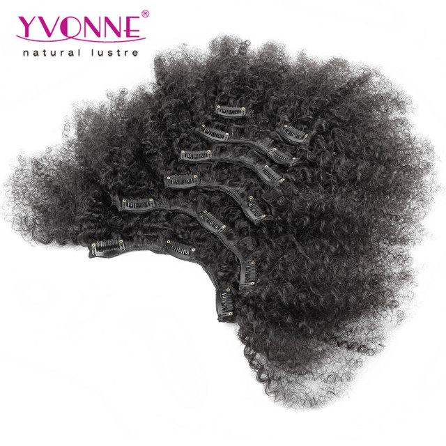 YVONNE Afro Kinky Clip in Extensions Natural Hair,100% Brazilian Virgin Hair Clip in Human Hair Extensions,7Pcs/set,Color 1B