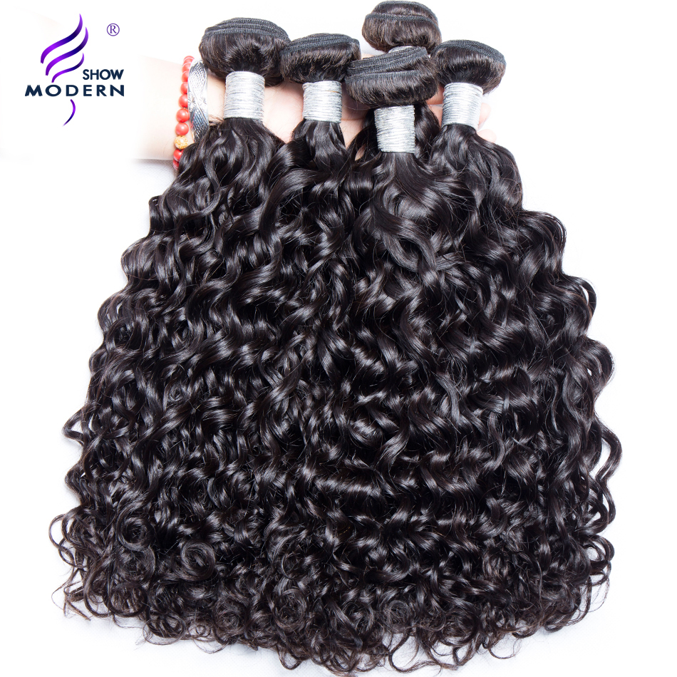 Malaysian Water Wave Modern Show Hair 100% Human Hair Weave Bundles Natural Color Free Shipping Can buy 3 or 4 bundles Remy Hair