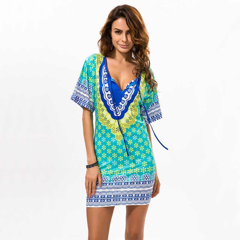 d869dc03740e60a ... Цветочный принт шифон Испания платье 2017 короткий рукав Для женщин  летние Пляжные наряды туника с принтом ...