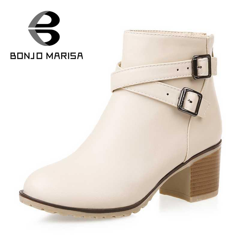 ФОТО Big Brand Women Ankle Boots Vintage Gladiator Chunky Heels Double Buckle Straps Round Toe Platform Spring Autumn Boots Shoes
