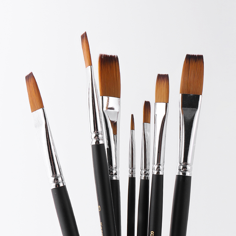 Купить с кэшбэком Bgln 9pcs/set Nylon Oil Paint Brush Flat Painting Brush For Oil , Acrylic Brush Pen pincel para pintura Art Supplies 801