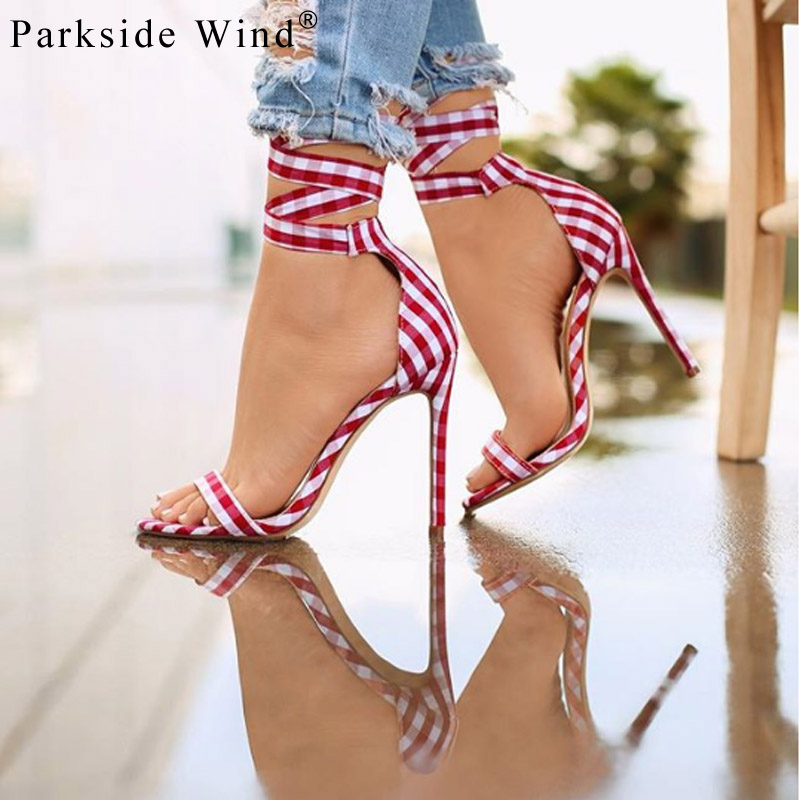 Parkside Wind Gingham High Heels Fashion Lace Up Riband Thin Heel Women Sandals Summer Ankle Strap Party Female shoes XWC1880-5
