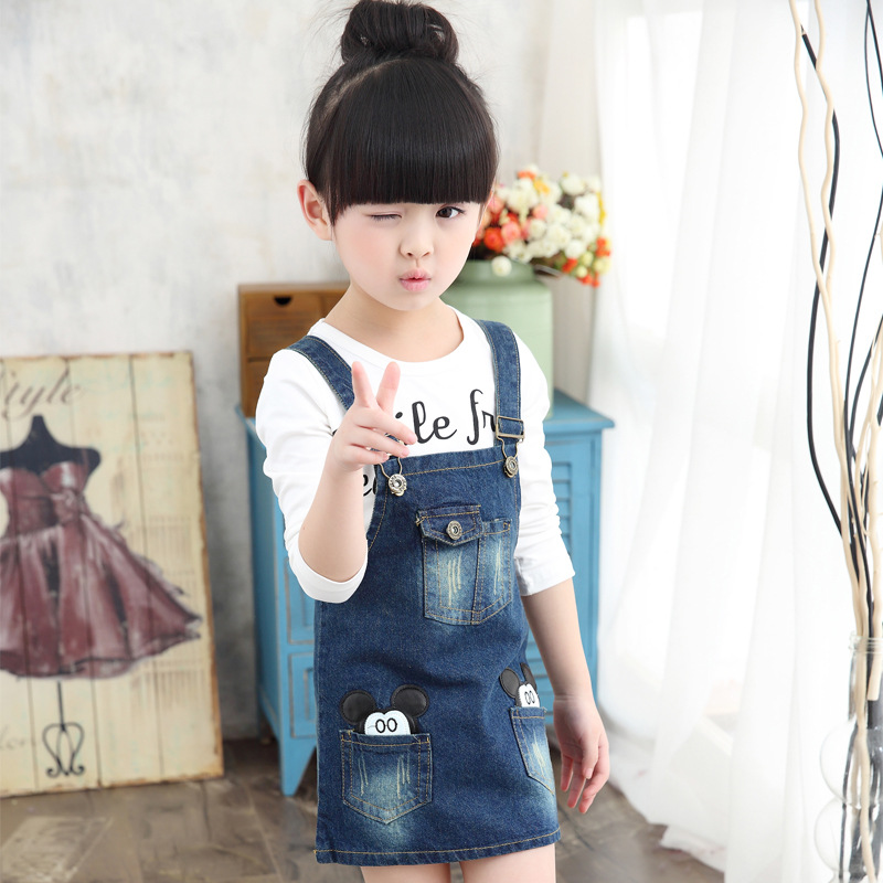 Spring and Autumn New Girls Wear Denim Cotton Shirt Dress Suit Children Two Pieces Kids Clothing Sets White Stripe 2017 new fashion spring autumn girls two pieces suit children coat princess dress suit korean leisure sweet kids clothes dc129