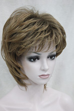 Free shipping New elegant yellow blonde mix auburn short straight ladies s synthetic wig