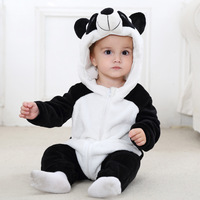 2017 Autumn Winter Flannel Baby Boy Clothes Cartoon Animal Jumpsuit Baby Girl Rompers Baby Long Sleeve Hooded Infant Clothing