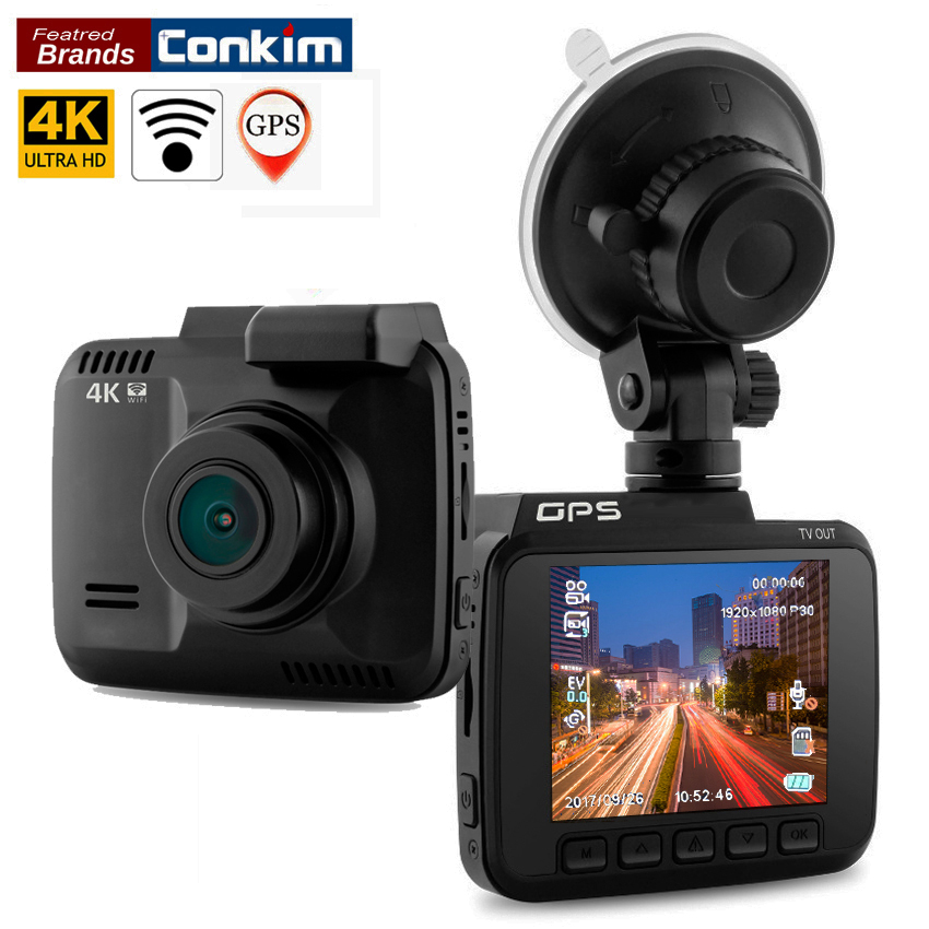 цены Conkim Dash Cam Novatek 96660 Wifi Car Camera GPS Tracker 4K Ultra HD 2880*2160P Night Vision Car DVR 150 Degree Angle Lens H40