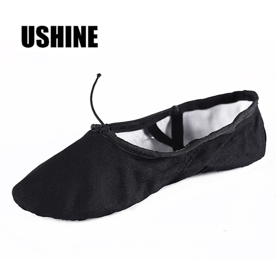 USHINE EU22-45 Professional Black Flat Soft Zapatos De Baile De Ballet Canvas Women Ballet Dance Shoes Girls Kids Children