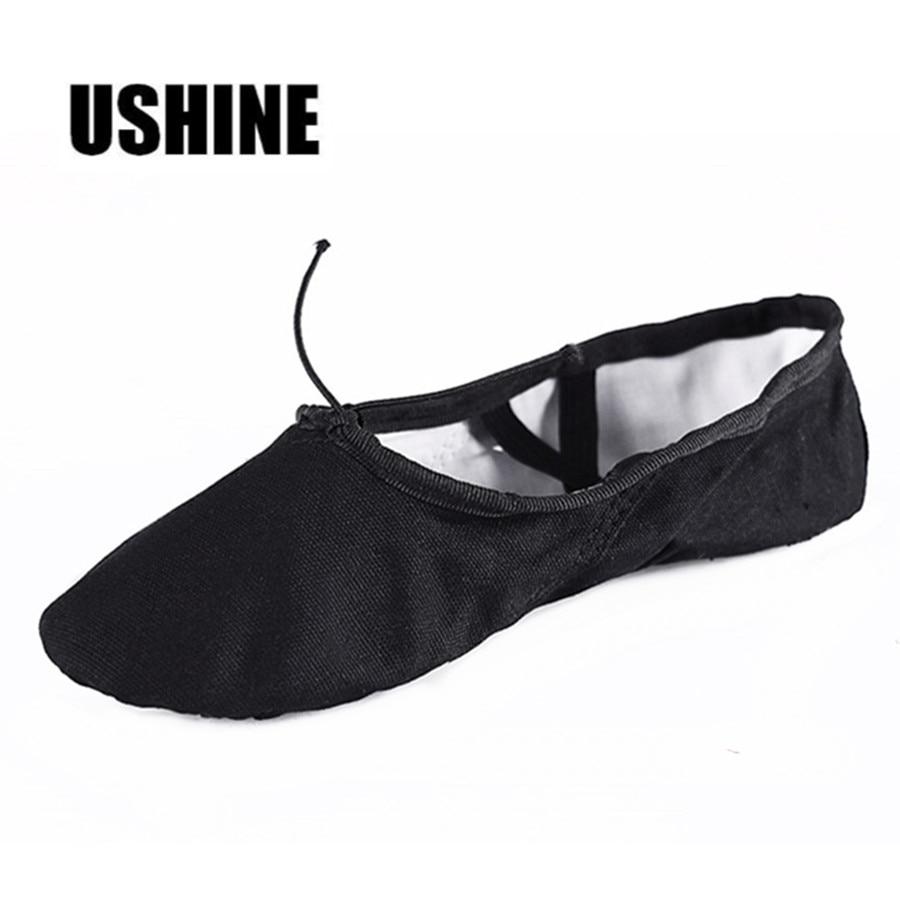 USHINE EU22-45 Professional Black Flat Soft Zapatos De Baile De Ballet Canvas Women Ballet Dance Shoes Girls Kids Children