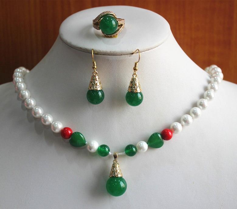 """Belle 8 mm naturel vert jade perles rondes Collier 18/"""" AAA"""