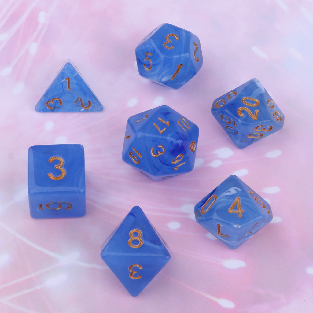 7PCS Gem Acrylic Polyhedral Dice For D& D TRPG Cup Game Board Game Role Play Game,D4 D6 D8 D20