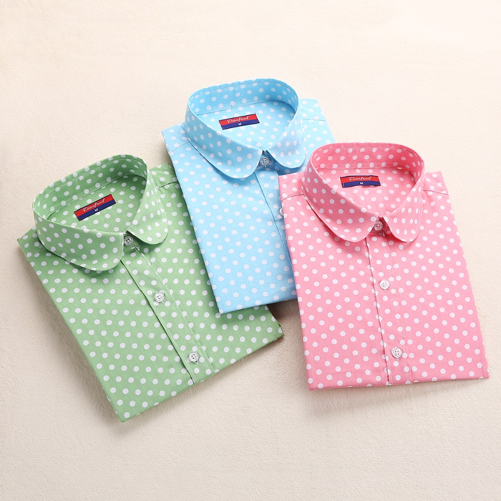 Hot New Women Blouses Long Sleeve Shirt Polka Dot Blusas Femininas 2015 Cotton Shirt Red Women Tops Camisas Femininas Tops