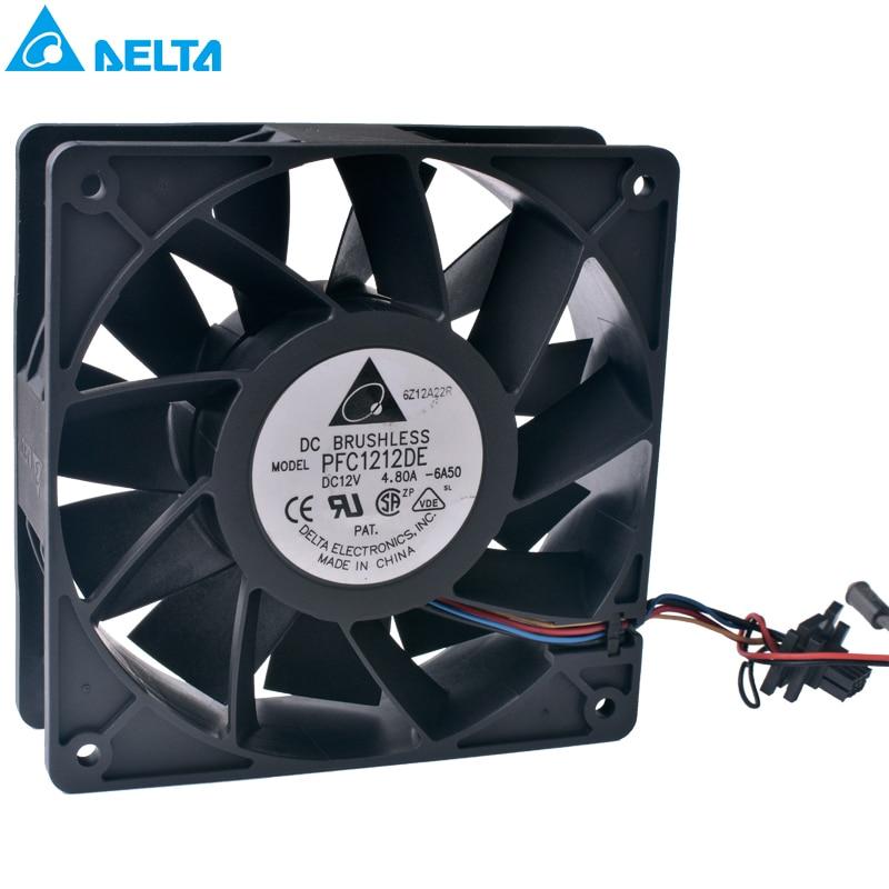 DELTA PFC1212DE 120mm fan 12038 120x120x38mm 12V 4.80A Ultra-violent industrial equipment cooling fan delta 12cm 12038 12v cooling fan pfb1212ehe pfb1212ghe pfb1212uhe qfr1212ehe qfr1212ghe