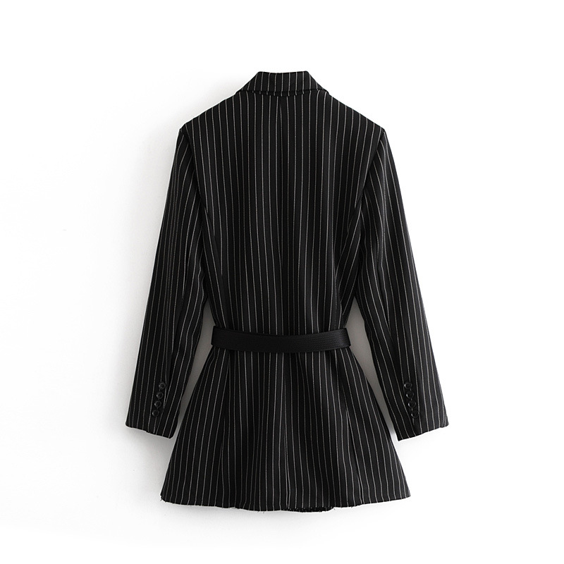 European Station Morning Fall Show Thin New Fashion Giveaway Belt Supermodel Street Beat Stripe Long Suit Black Fall 2019
