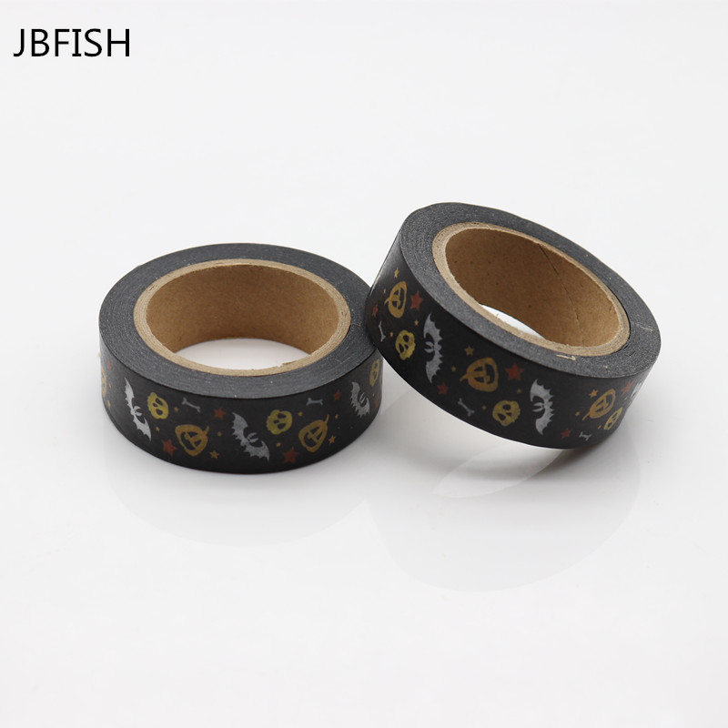 JBFISH DIY Japanese Paper Washi Tapes Halloween Pumpkin Deer Masking Tapes Adhesive Tapes 8019