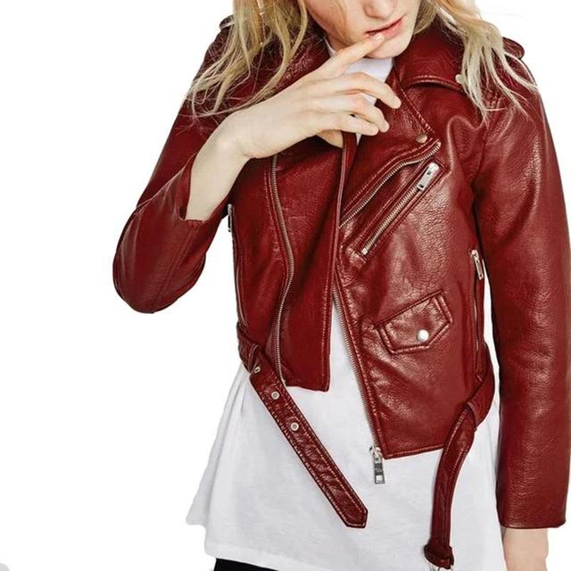 75d5b8fc4798f women candy color faux PU leather short motorcycle jacket zipper pockets  sexy punk coat ladies casual