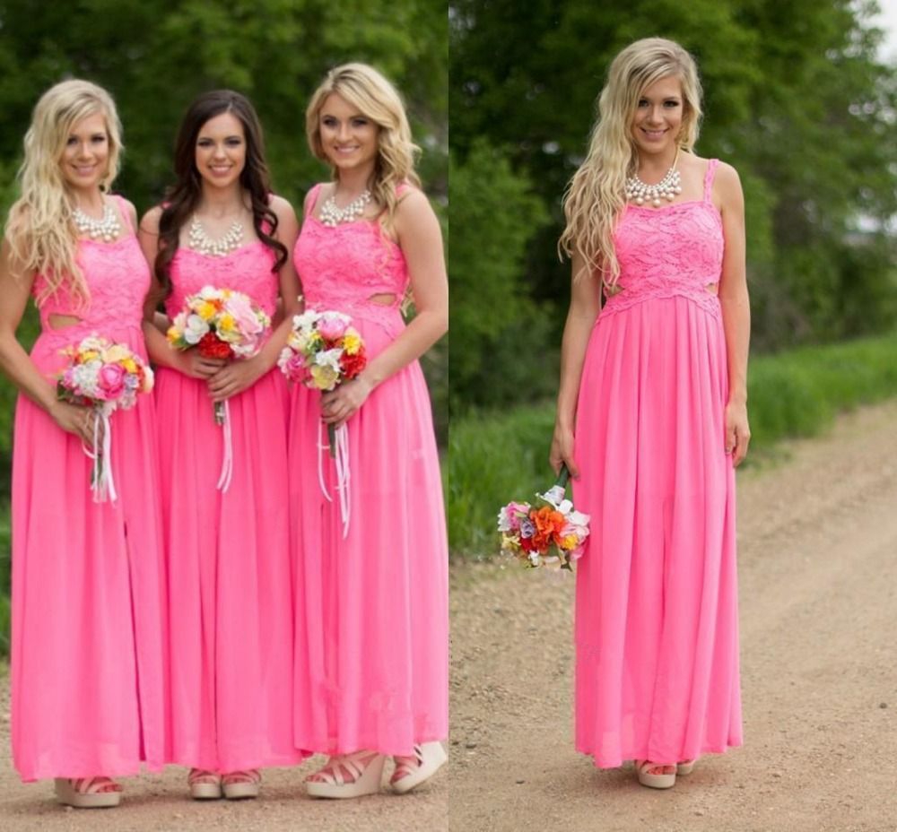 Online get cheap long pink lace bridesmaids dresses aliexpress country hot pink lace long chiffon bridesmaid dresses 2016 floor length cheap sexy spaghetti straps beach ombrellifo Images