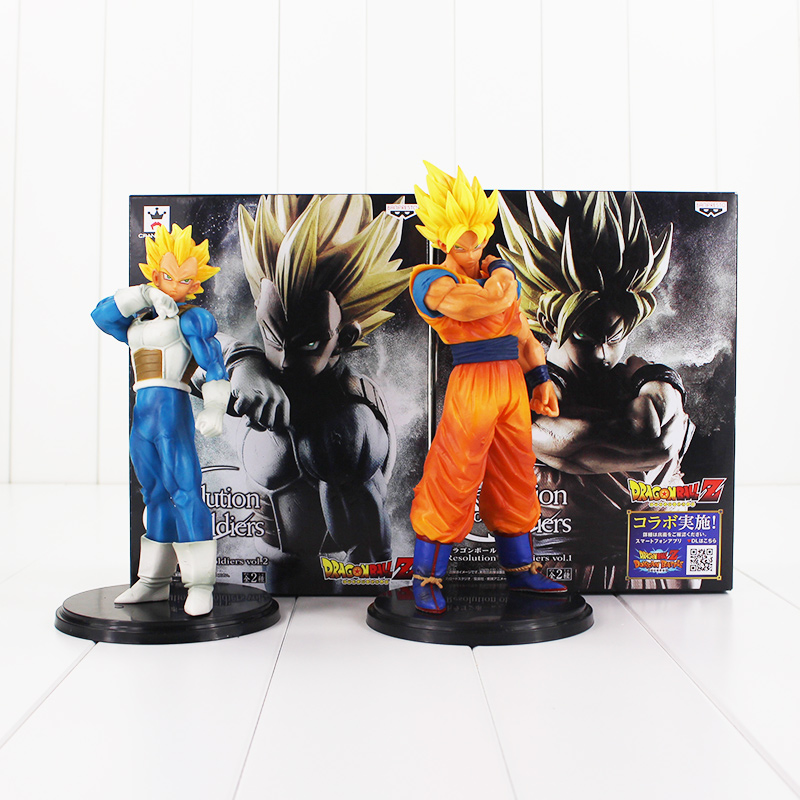 все цены на 2pcs/lot Dragon Ball Z Super Saiyan Model Toys Resolution Of Soldier Son Goku Vegeta PVC Action Figure Toy 18-20cm