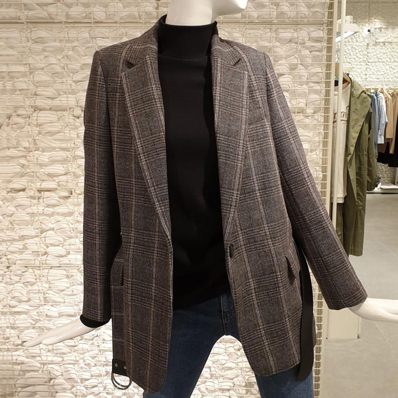 Manteau Printemps Veste L49 À Outwear Mode Automne Longues Unique Manches Revers Plaid Femelle Femmes Nouvelle 2019 Vintage Blazer Ceinture Bouton Mince p5wvzqxg