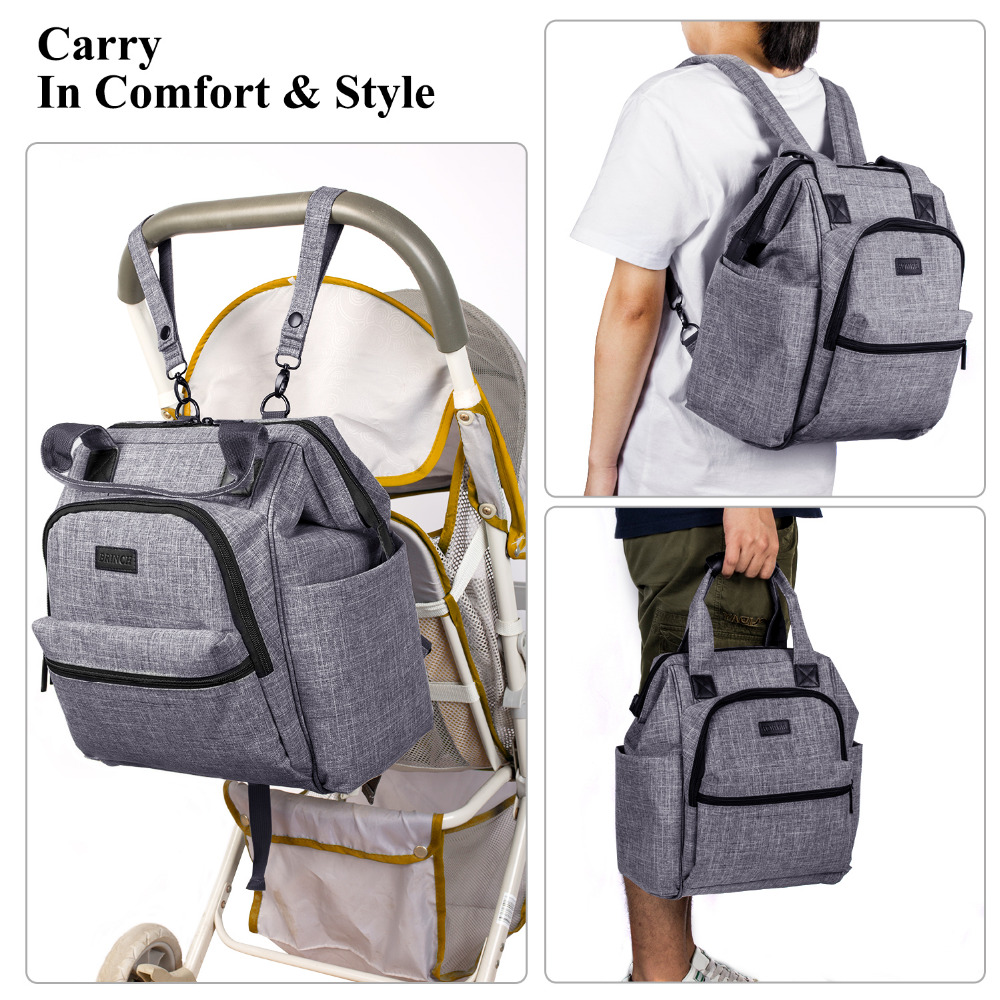 BRINCH Fashion Diaper Bag Multi-functional Baby Bag Waterproof Backpack Baby Care Stroller Straps Maternity Mummy Bags