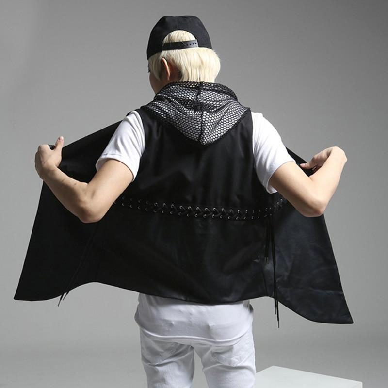 Unique Men's Drawstring Design Cotton Pu Leather Vest Fashion Black Brand Slim Fit Waistcoat