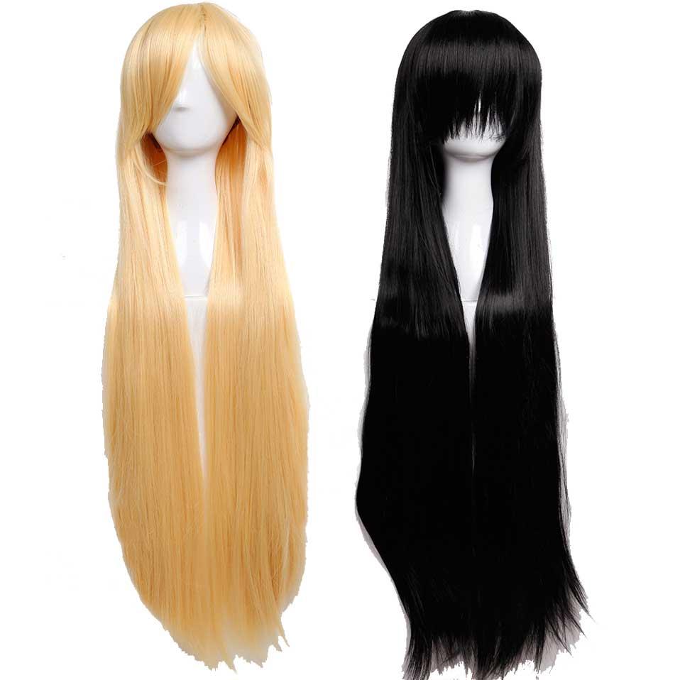 S-noilite 100 cm Cosplay Diritta Parrucche Lunga Parrucca Sintetica Dei Capelli per Le Donne di Halloween Parrucche Resistente Al Calore Parrucchino Nero bionda