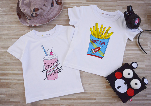 new 2017 family 100% cotton T-shirts fries & ice cream print baby boys girls summer fashion T shirts short sleeve