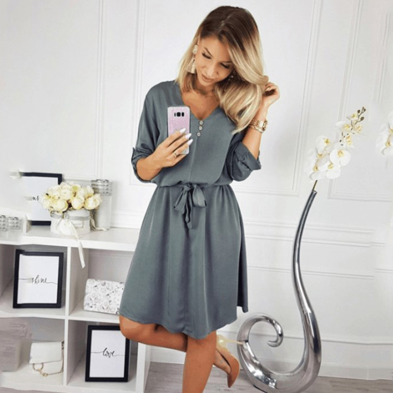 Neck Solid Design Buttons Half Sleeve Dress