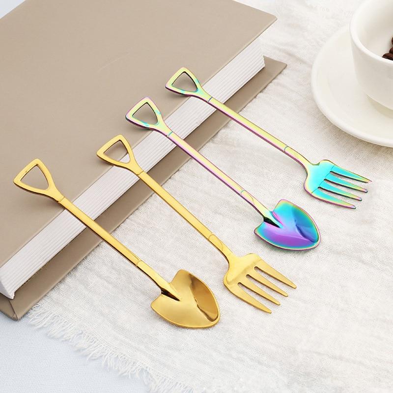 200pcs lot Stainless Steel Tea Spoon Shovel Shape Design Coffee Ice Cream Soup Teaspoons Long Handle