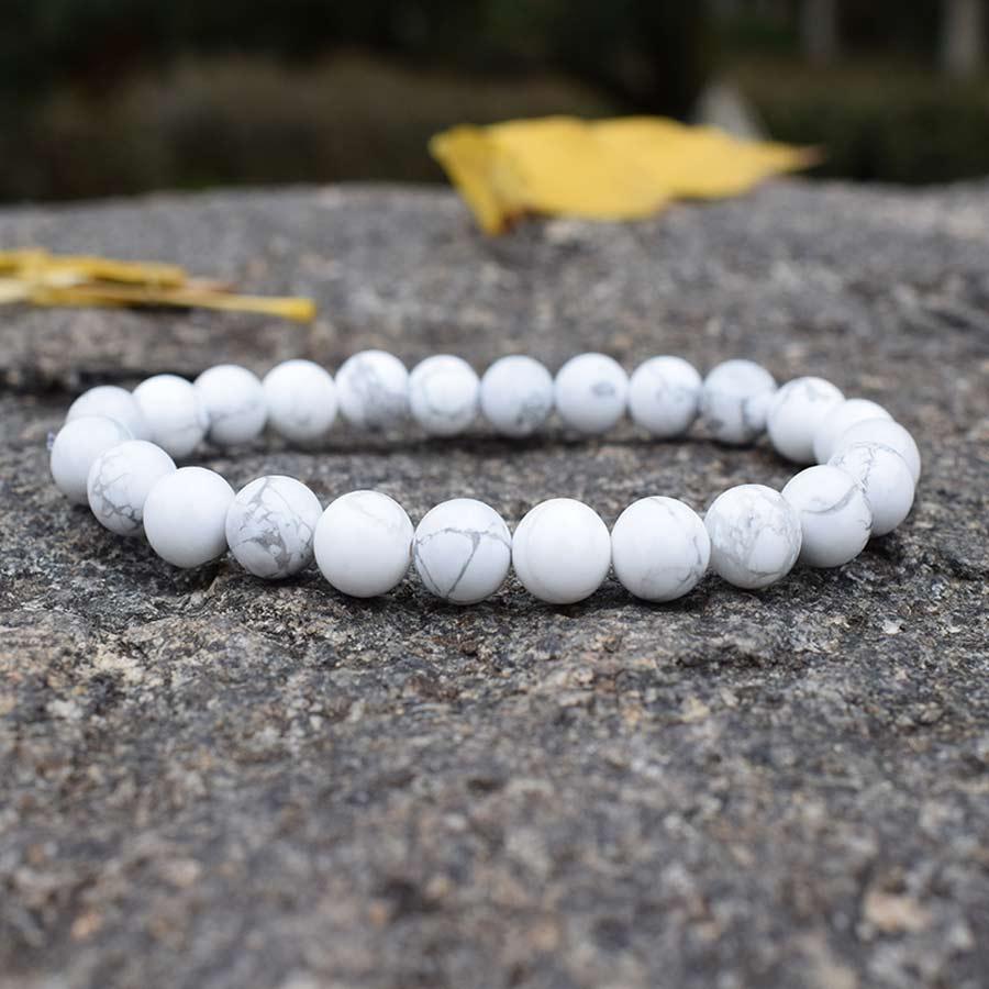 Fashion White Turquoises Beaded Bracelets Women Natural Stones Beads Handmade Strand Semi-precious Handwoven Jewelry