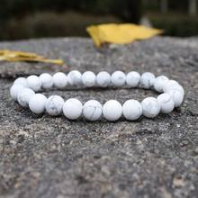 Fashion White Turquoises Beaded Bracelets Women Natural Stones Beads Handmade Strand Bracelets Semi-precious Handwoven Jewelry