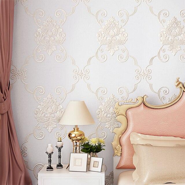ثلاثية الأبعاد الفاخرة الأوروبية حديقة غرفة نوم غرفة الزفاف خلفيات الكورية الدافئة رومانسية غير المنسوجة غرفة المعيشة زينة ورقية للجدران خلف التلفاز