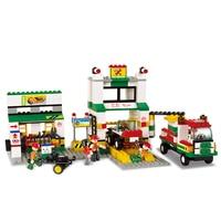 Sluban Model Toy Compatible With Lego B2500 414pcs Service Station Model Building Kits Toys Hobbies Building