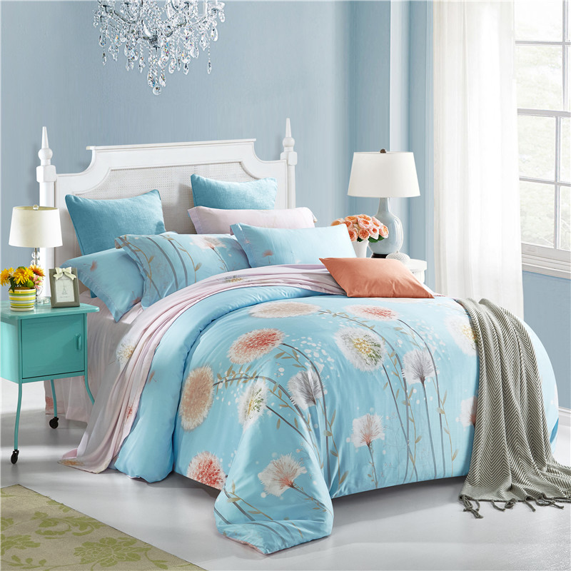 Brief Dandelion Light Blue Soft Bedding Sets Queen King Size Silk Tencel  Fabric Bedlinens Duvet Cover. Online Get Cheap Light Blue Bedding  Aliexpress com   Alibaba Group