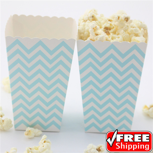 36pcs Light Blue Chevron Baby Shower Popcorn Boxes Kids Birthday