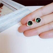 Серьги-гвоздики для женщин изумруд драгоценный камень Стерлинговое серебро Винтаж элегантный S925 темперамент Простые Ювелирные изделия антиаллергенные