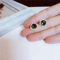 Серьги стержня для Для женщин драгоценный изумруд серебро Винтаж элегантный S925 темперамент простой Fine Jewelry против аллергии
