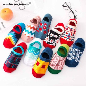 Moda Socmark Colorful Women Mens Cotton Ankle Socks Invisible Low Cut Summer Casual Breathable Short Unisex Cool Funny