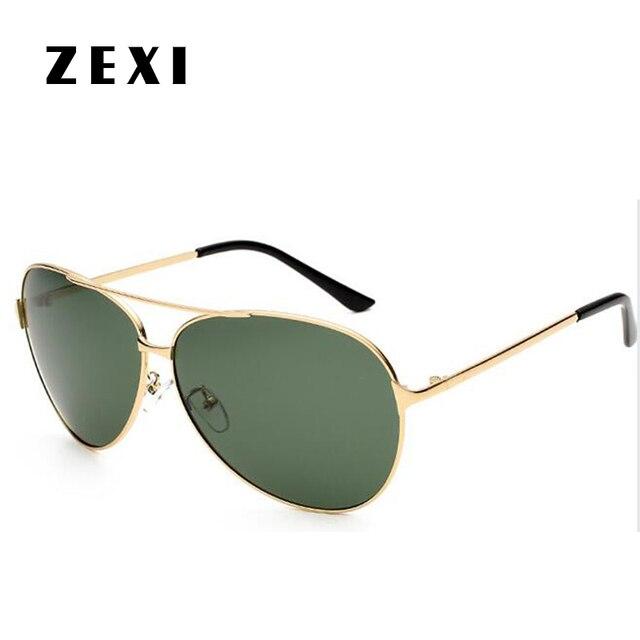c1acd3aa00313 ZEXI Surdimensionné Mâle lunettes de Soleil Aviateur Hommes Polarizado Vert  Lentille Or Cadre Lunettes Polarisées Mercedes