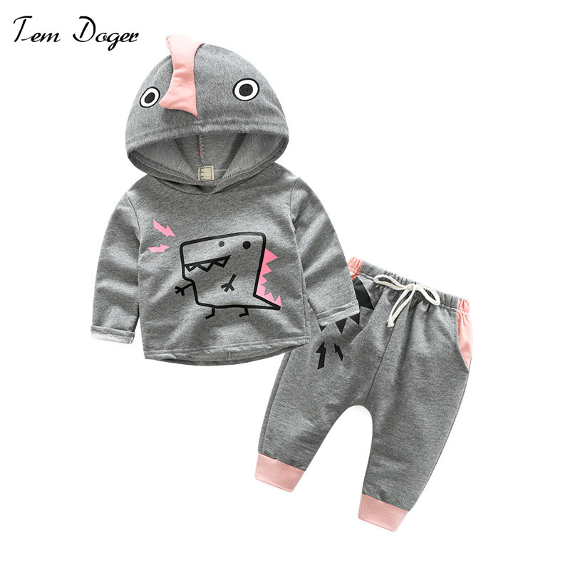 Baby Boys Girls Clothes Sets Hooded Long Sleeve T Shirt + Pants Infant Clothing Suit Newborn Cartoon Dinosaurs Sportswear