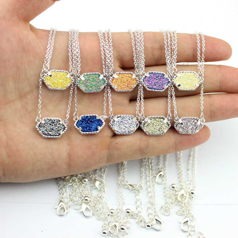 Famous Brand 2016 New KS Oval Drusy Pendant Necklace Silver Fashion Druzy Choker Necklace Jewelry