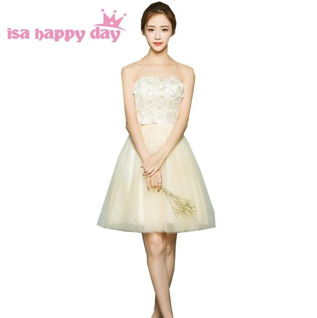 Champagne sayang bridemaids pendek sexy strapless elegan tulle gaun  bridesmaide dresses vintage 2017 wedding guest H3713 4017a049255a