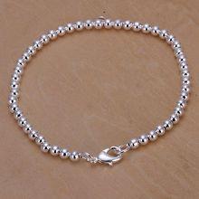 Для женщин/мужчин посеребренный браслет 925 модные серебряные ювелирные изделия браслет с шармом 4 мм браслет с шариками SB198
