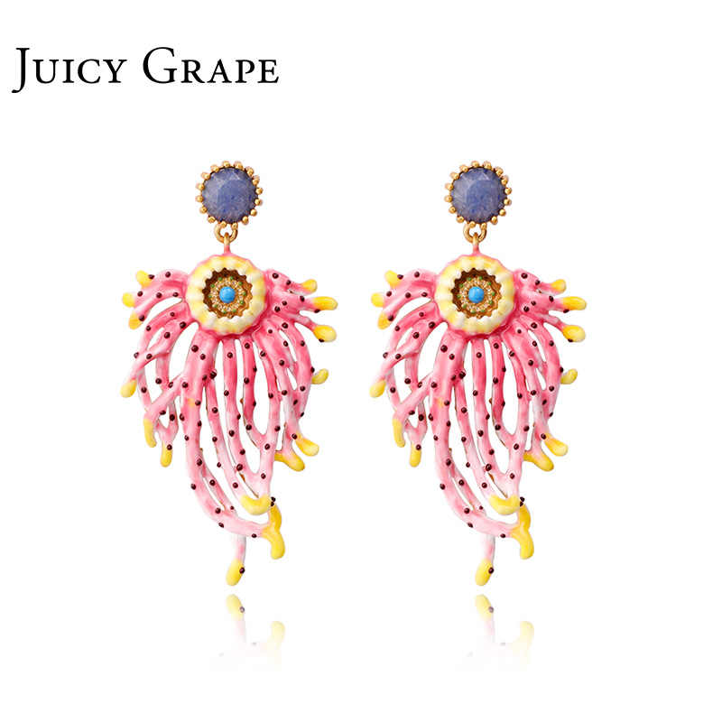 Juicy Grape Enamel Chrysanthemum Blue Rhinestone Earrings Exaggerated Atmosphere s925 Silver Stud Earrings Femininity Earrings