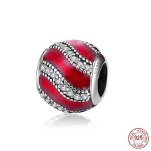 925 Sterling Silver Bead Fashion Red Waves Crystal Beads Fit Original Pandora Charms Bracelet & Bangle Jewelry PCY025