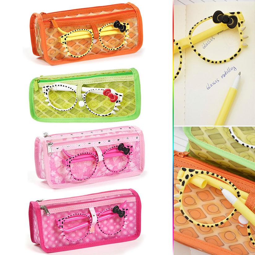 Cute Kawaii Cartoon Double Layer Zipper Canvas Pencil Bag Case With Glasses Frames Korean Stationery Student