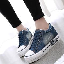 SWYIVY النساء أحذية رياضية 2019 حذاء قماش الربيع/الخريف الدنيم حذاء كاجوال المرأة منصة أحذية رياضية الأزرق فلكنيز الإناث حذاء رياضة