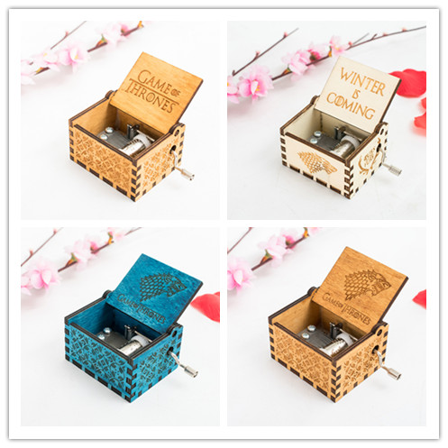 Movie Game of Thrones Music Box Cosplay Accessories Prop Theme Handmade Engraved Wooden Music Box Crafts Cosplay