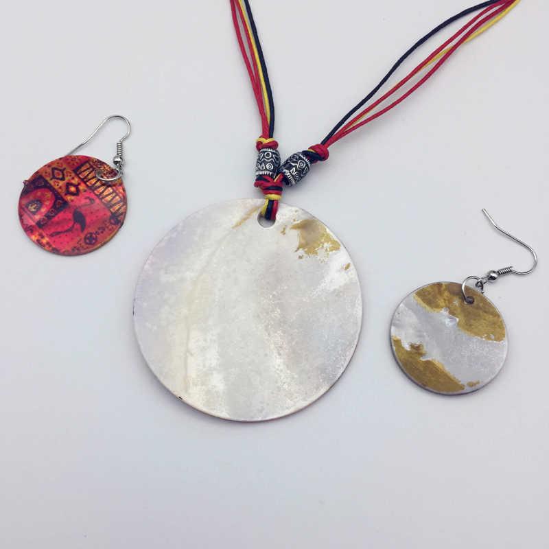 מעטפת טבעית ציפור פלמינגו סגלגל עגיל תכשיטים לנשים שרשרת parure הסט bijoux femme boho אתני שרשרת חבל שעווה רובי